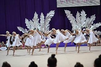 Купальник- платье для бальных танцев с шифоном 1