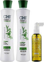 Chi Power Plus Набор против выпадения и для стимуляции роста волос(шамп.355ml + витамин.комп104ml + конд355ml)