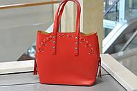 Большая красная сумка шоппер 8657