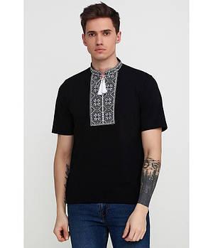 / Размер S,M,L,ХL,2XL / Мужская вышитая футболка Народна» М-615-12 / цвет черный с серым орнаментом