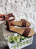 Женские кожаные босоножки сандалии на низком ходу (рыжий леопард), фото 10