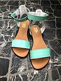 Женские мятные кожаные босоножки (сандалии) на низком ходу, фото 2