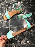 Женские мятные кожаные босоножки (сандалии) на низком ходу, фото 4