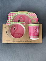 Бамбуковая эко-посуда для детей 3в1 Фламинго. Набор детской посуды
