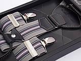 Серые мужские подтяжки Paolo Udini в подарочной упаковке, фото 2