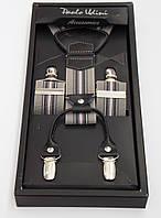 Серые мужские подтяжки Paolo Udini в подарочной упаковке, фото 1