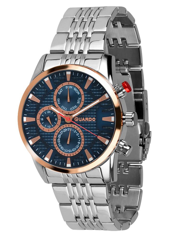 Годинники чоловічі Guardo 011653-3 срібні