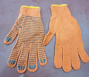Перчатки рабочие х/б с ПВХ покрытием (оранжевые)