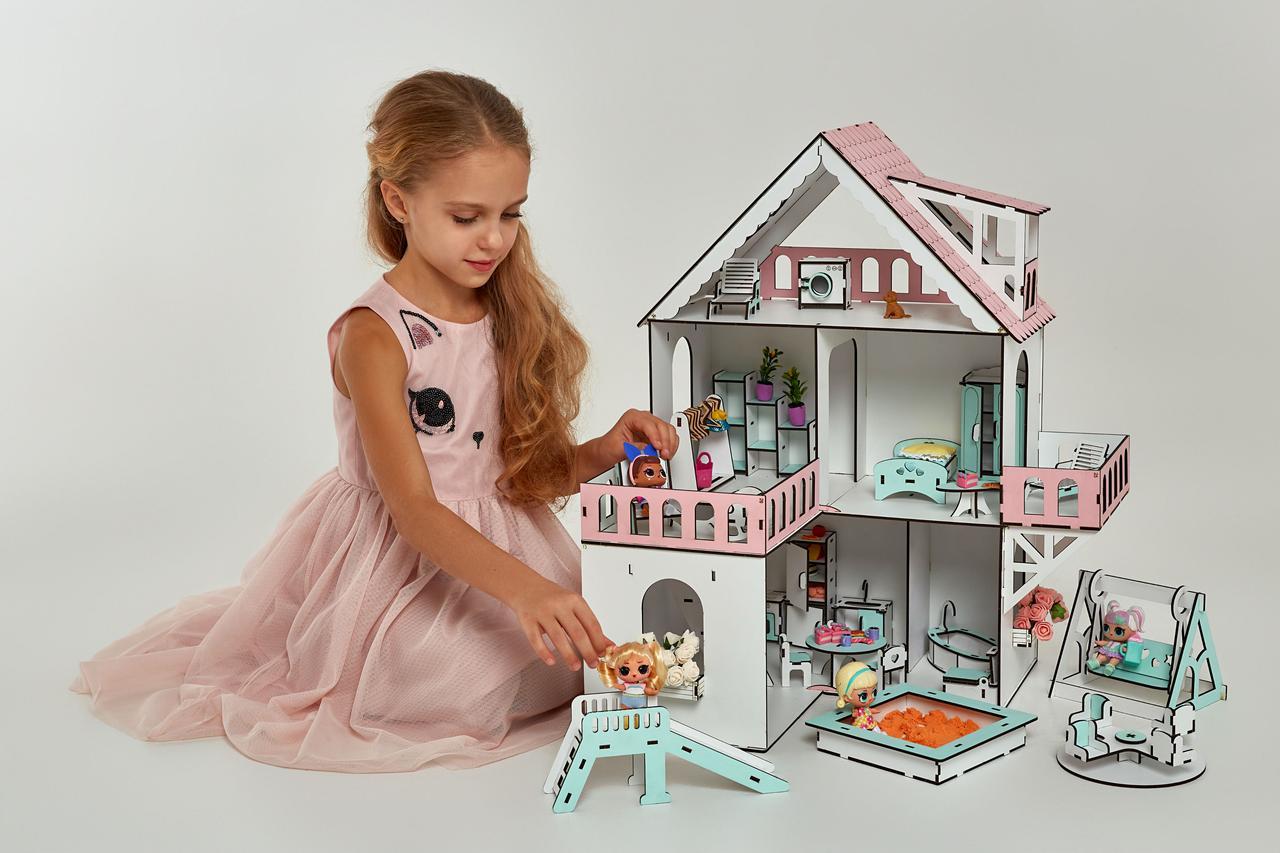 Кукольный домик NestWood Мини коттедж для ЛОЛ с мебелью 9 шт розовый (kdl002)