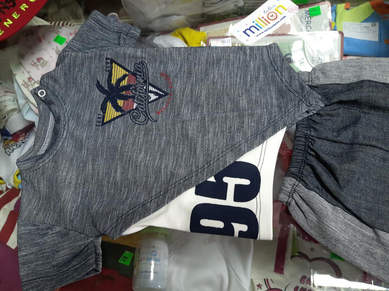 Костюм детский летний для мальчика Стильный Лакоста футболка и шорты р.68 - 92