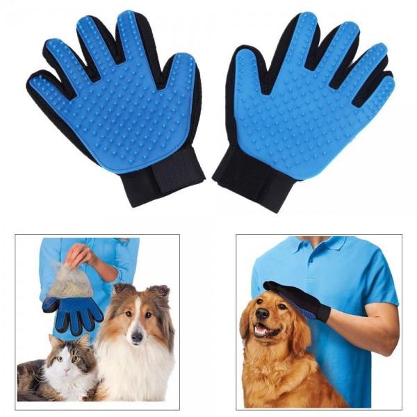 Deshedding Glove для вычесывания шерсти животных перчатка для котов и собак True Touch чесалка (NS)