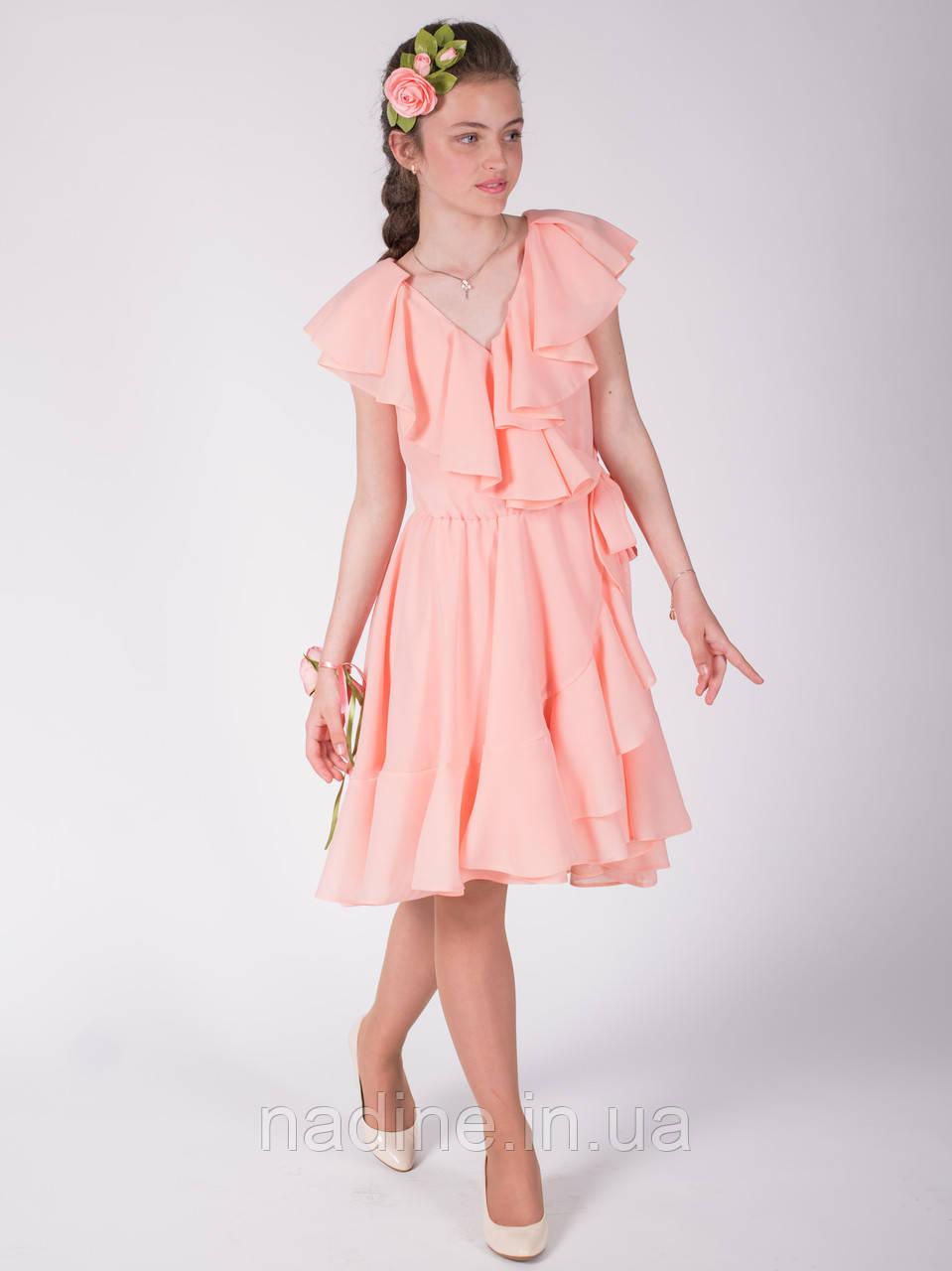 Шифоновое платье Enigmatic Rose Eirena Nadine (132-52) на девочку  152 персикового цвета