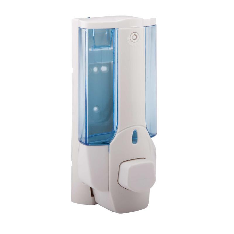 Дозатор жидкого мыла настенный Potato P403 одинарный пластик (сине-белый) 380 мл