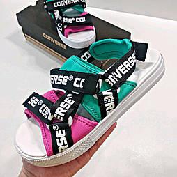 Женские сандалии Converse CV Sandal Logotape Multi летние белые. Живое фото. Топ качество. (Реплика ААА+)