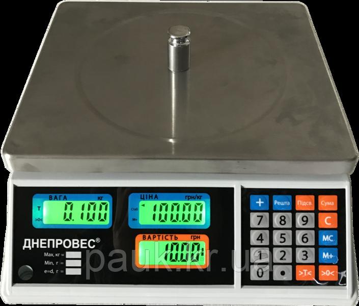 Весы торговые, 6 кг ВТД-Т1 Днепровес, РК-дисплей