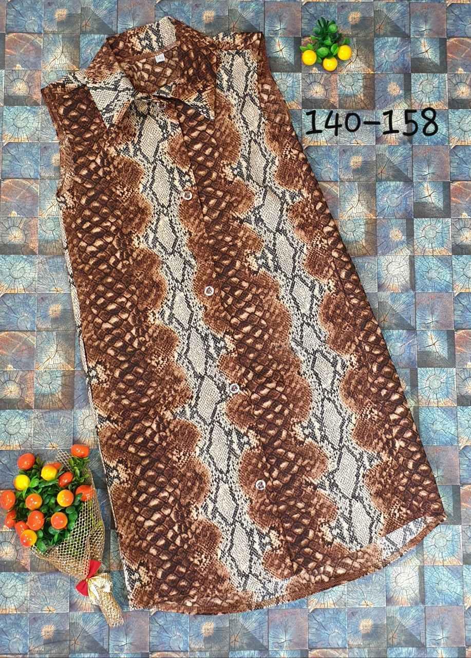 Летнее платье- рубашка с карманами р.140-158