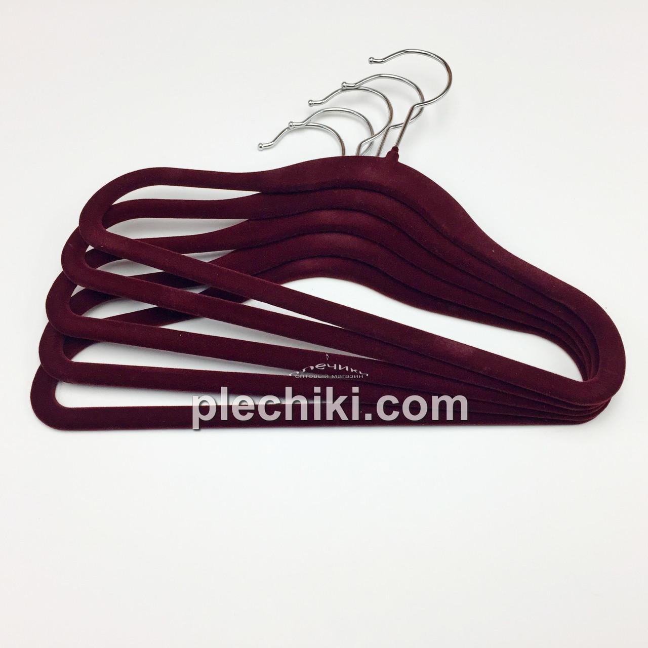Плечики вешалки детские флокированные (бархатные, велюровые) бордового цвета, длина 280 мм