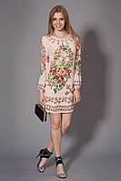 Женское молодежное шифоновое платье с принтом. Код модели Л-31-31-15. Цвет молочный.