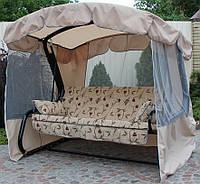 Садовые качели Империя GreenGard гобелен до 400 кг бежевый/серый тент