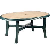 Пластиковый стол «Danubio Wood», зеленый, фото 1