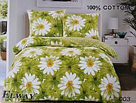 Сатиновое постельное белье евро ELWAY 003 «Ромашки»