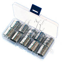 Набор переводной фольги в контейнере, средний, 10шт (серебро)