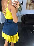Жіноче літнє плаття/сарафан з рюшами, в кольорах (джинсовий пояс окремо в продажу), фото 3