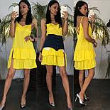 Жіноче літнє плаття/сарафан з рюшами, в кольорах (джинсовий пояс окремо в продажу), фото 2