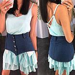 Жіноче літнє плаття/сарафан з рюшами, в кольорах (джинсовий пояс окремо в продажу), фото 9