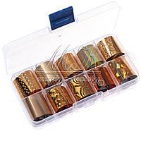 Набор переводной фольги в контейнере, средний, 10шт (золото)