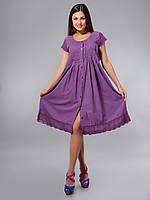 Платье - халат фиолетовый, хлопок, Индия, на 46-56 размеры