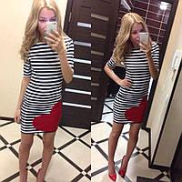 """Стильное молодежное платье мини """" Морячка сердце """" Yulia"""