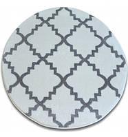 Ковер Лущув SKETCH  120 см круглый - F343 серый белый Марокканский узор