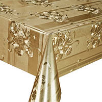 Клеенка ПВХ в рулоне Stenson МА-2215 тиснение c печатью, 1.37*20м, золото, клеенка столовая в рулонах, клеенка пвх, клеенка для стола, скатерти,