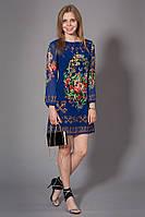 Женское молодежное шифоновое платье с принтом. Код модели Л-31-31-15. Цвет синий.