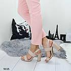 Женские босоножки на каблуке в бежевом цвете, искусственная кожа 37 ПОСЛЕДНИЙ РАЗМЕР, фото 2