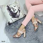 Женские босоножки на каблуке в бежевом цвете, искусственная кожа 37 ПОСЛЕДНИЙ РАЗМЕР, фото 4