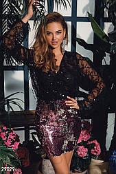 Короткая нарядная юбка с пайетками розово-серебристая