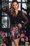 Короткая нарядная юбка с пайетками розово-серебристая, фото 2