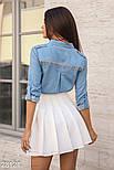 Короткая юбка со складками и высокой посадкой белая, фото 3