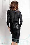 Кожаная юбка-карандаш с разрезом спереди черная, фото 3