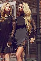 Короткая ассиметричная юбка с кружевом серо-черная