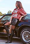 Короткая облегающая юбка из эко-кожи черная, фото 2
