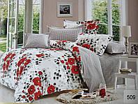 Сатиновое постельное белье евро ELWAY 509 «Маки»