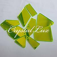 Зеркальные пришивные стразы Микс размеров 30шт Neon Green