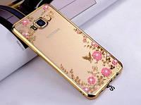Силиконовый  чехол с цветами и стразами для Samsung Galaxy A8 Plus