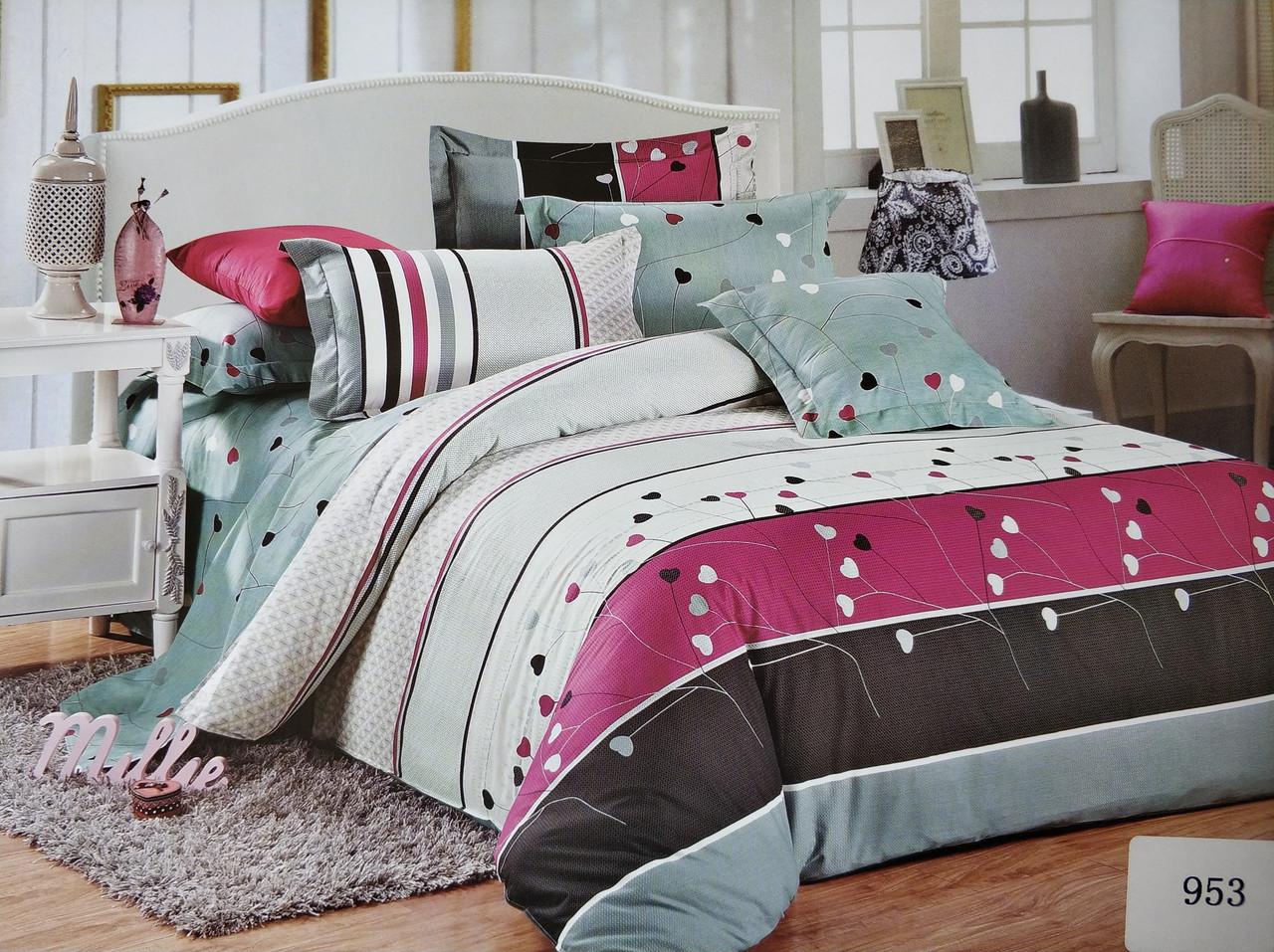 Сатиновое постельное белье евро ELWAY 953 «Сердечки»