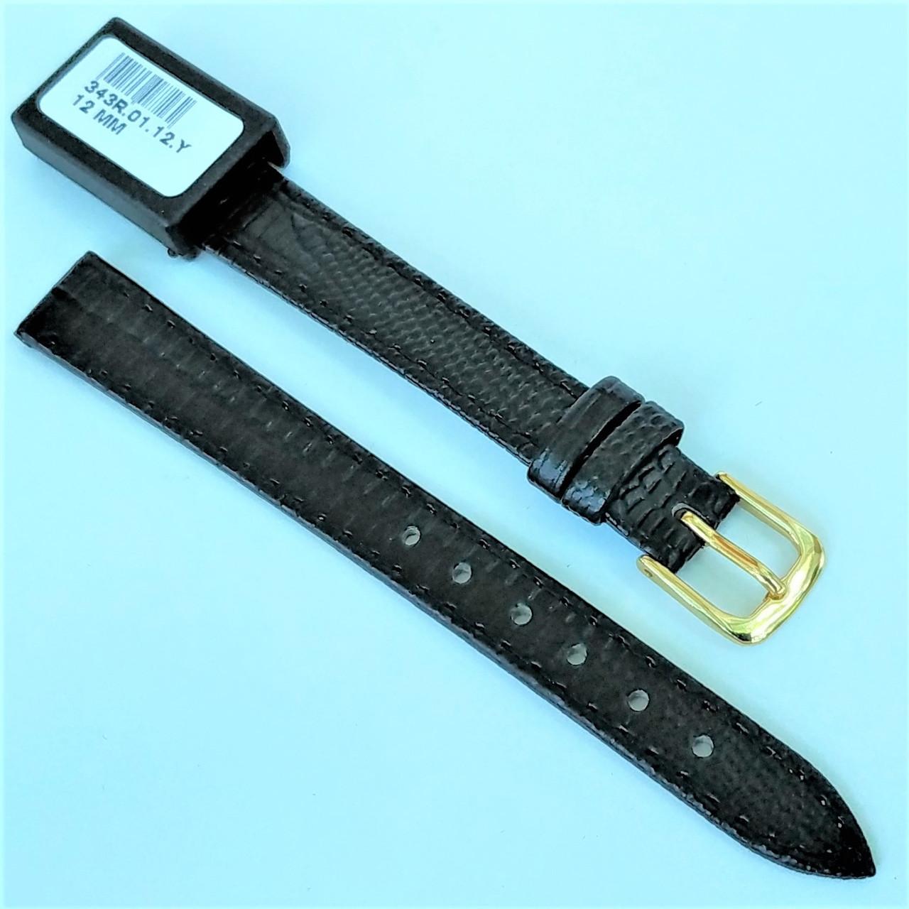 12 мм  Кожаный Ремешок для часов CONDOR 343.12.01 Черный Ремешок на часы из Натуральной кожи