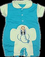 Песочник-футболка с воротником поло, с вышивкой, хлопок (кулир), ТМ Лио, р. 68, 74, Украина