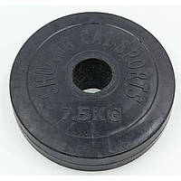 Блины черные обрезиненные 7,5кг (диам. 52мм) ТА-1803